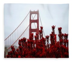 Golden Gate Bridge Red Flowers Fleece Blanket
