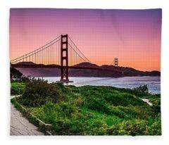 Golden Gate Bridge San Francisco California At Sunset Fleece Blanket