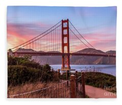 Golden Gate Bridge Sunset Fleece Blanket