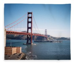 Golden Gate Bridge With Aircraft Carrier Fleece Blanket