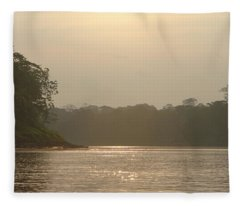 Golden Haze Covering The Amazon River Fleece Blanket