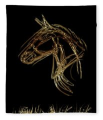 Golden Horse Fleece Blanket