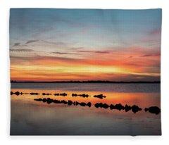 Golden Hour At Back Bay Fleece Blanket