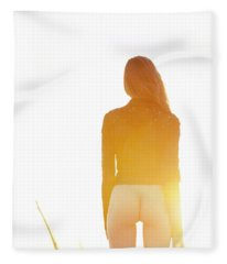 Golden Hour Girl Fleece Blanket