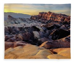 Golden Hour Light On Zabriskie Point Fleece Blanket