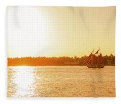 Golden Hour Sailing Ship Fleece Blanket