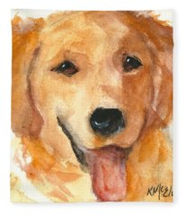 Golden Retriever Watercolor Painting By Kmcelwaine Fleece Blanket