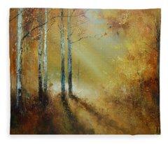 Golden Light In Autumn Woods Fleece Blanket
