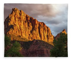 Golden Light On Watchman - Zion Fleece Blanket