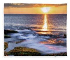 Golden Light Sunset, Rockport  Ma. Fleece Blanket