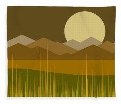 Golden Moonrise Fleece Blanket