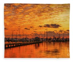 Golden Orange Sunrise Fleece Blanket