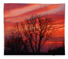 Golden Pink Sunset With Trees Fleece Blanket