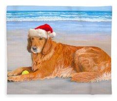 Golden Retreiver Holiday Card Fleece Blanket