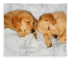 Golden Retriever Dog Puppies Sleeping Fleece Blanket
