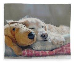 Golden Retriever Dog Sleeping With My Friend Fleece Blanket