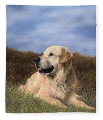 Golden Retriever Painting Fleece Blanket