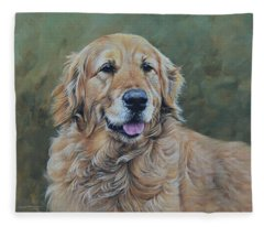 Golden Retriever Portrait Fleece Blanket