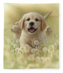 Golden Retriever Puppy - Dandelions Fleece Blanket