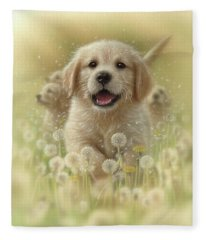 Golden Retriever Puppy - Dandelions Fleece Blanket