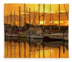 Golden Sailboat Sunrise Over Stuart Marina, Florida Fleece Blanket