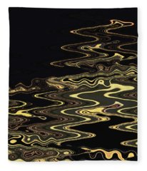 Golden Shimmers On A Dark Sea Fleece Blanket