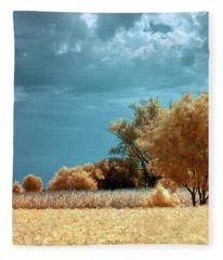 Golden Summerscape Fleece Blanket