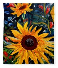 Golden Sunflower Burst Fleece Blanket