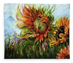 Golden Sunflowers - Harsh Malik Fleece Blanket