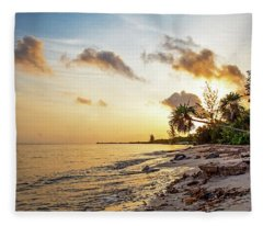 Golden Sunrise On Cozumel Beach Fleece Blanket