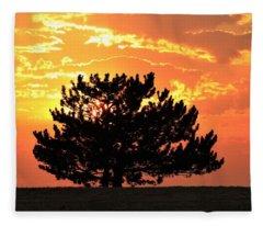 Golden Sunset Behind Pine Tree Fleece Blanket