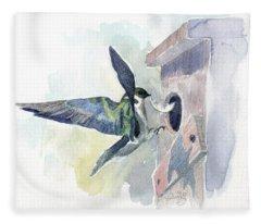 Golden Swallow Fleece Blanket