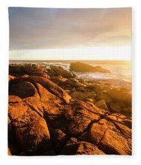 Golden Tasmania Coastline Fleece Blanket