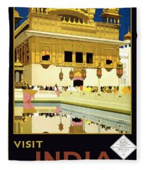 Golden Temple Amritsar India - Vintage Travel Advertising Poster Fleece Blanket