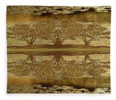 Golden Trees Reflection Fleece Blanket