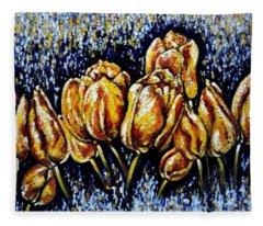 Golden Tulips Fleece Blanket