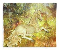 Golden Unicorn Dreams Fleece Blanket