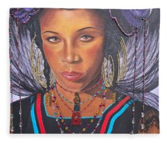 Gracious Golden Wodaabe Girl           From The Attitude Girls  Fleece Blanket