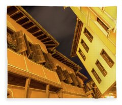Golden Yellow Night - Chic Zigzags Of Oriel Windows And Serrated Roof Lines Fleece Blanket