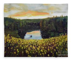 Goldenrods On Davenport Lake-ellijay, Ga  Fleece Blanket