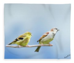 Goldfinch And House Sparrow Perching Together. Fleece Blanket