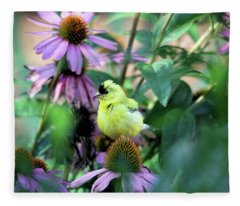 Goldfinch On Coneflowers Fleece Blanket