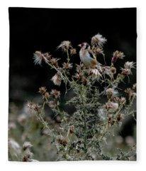 Goldfinch Sitting On A Thistle Fleece Blanket