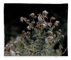 Goldfinch Sitting On A Thistle Fleece Blanket