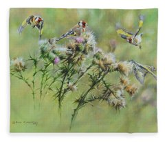 Goldfinches On Thistle Fleece Blanket
