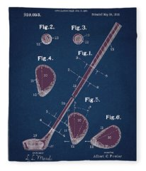 Golf Club Patent Drawing Navy Blue 2 Fleece Blanket
