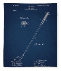 Golf Club Patent Drawing Navy Blue 3 Fleece Blanket