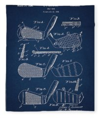 Golf Club Patent Drawing Navy Blue 5 Fleece Blanket