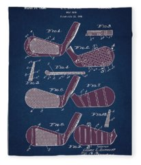 Golf Club Patent Drawing Navy Blue 6 Fleece Blanket