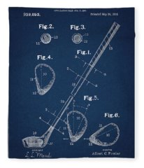 Golf Club Patent Drawing Navy Blue Fleece Blanket
